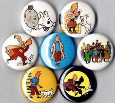 assorted Tintin badges were on eBay • Tintin, Herge j'aime