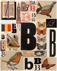 B - Alphabet letter giclee prints on matte museum-quality archival paper. Original made from vintage and antique books. pastesf.com