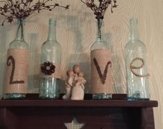 LOVE wine bottles decoration by HomemadecreaBoutique on Etsy