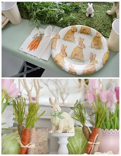 Place Setting + Centerpieces/Decor from a Bunny Birthday Party via Kara's Party Ideas | KarasPartyIdeas.com (17)