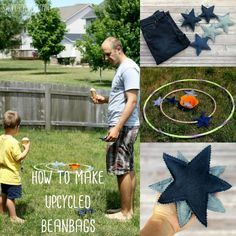 """Turn your old jeans into star shaped beanbags - perfect for throwing around with your family! These stars are the perfect size to toss and catch."""