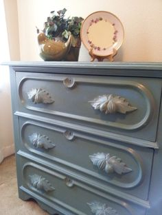Annie Sloan Chalk Paint - greek blue with olive colorwash and clear wax for a satiny turquoise effect.
