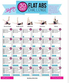 30 Day Flat Abs Challenge                                      Great For Starting The New Month!Drink as many glasses of water as it says for each day!
