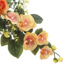 Ramos Todos los Santos. Ramo de cementerio con flores artificiales. Compuesto de liliums  y rosas color salmón con orquideas bicolor flores  y hojas. Alto 30 cm