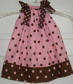 Pink and Brown Polka Dot Pillowcase Dress by clothesandbowsstore, $19.99