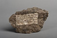 Plymouth Rock fragment with painted inscription, 1830 In the early 1800s, tourists visiting Plymouth Rock were provided a hammer so that they could take a piece of the rock as a souvenir. By 1880, what was left of the rock was fenced off within a memorial.