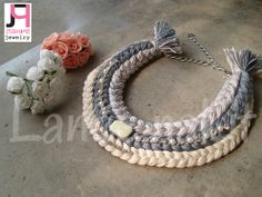 Handmade grey ombre braided necklace