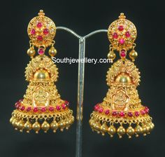 Bridal Diamond Necklace and Haram Set - Indian Jewellery Designs Gold Jhumka Earrings, Gold Earrings Designs, Antique Earrings, Jhumka Designs, Gold Temple Jewellery, Gold Wedding Jewelry, Bridal Jewelry, Wedding Ring, Antique Jewellery Designs