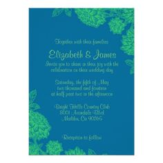Elegant Blue And Green Wedding Invitations This Dealslowest price Fast Shipping and save your money Now!!...