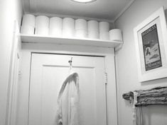 Space above the door could be a bonus spot. You could also run open shelving above your vanity mirror or the full length of just about any wall as long as it is high enough so that you won't bang your head. Toilet paper or rolled-up towels can be stored attractively in this way.