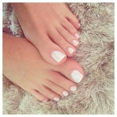 24 Ideas french pedicure designs toenails white for 2019 French Toe Nails, French Pedicure, Manicure Y Pedicure, White Pedicure, French Toes, White French Nails, Foot Pedicure, Pretty Toe Nails, Pretty Toes