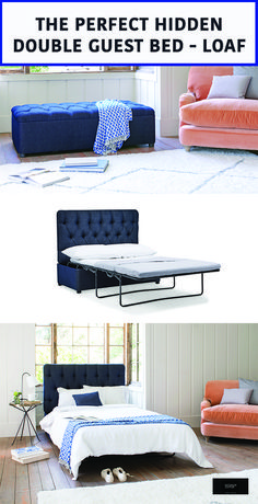 The Perfect Hidden Guest Bed - Loaf , Loaf has just introduced a new range of perfectly hidden guest beds in the form of the versatile footstoo solving the problem of couples staying overnight. Romantic Bedroom Decor, Guest Bedroom Decor, Guest Bedrooms, Ikea Guest Bed, Loaf Beds, Multipurpose Guest Room, Murphy-bett Ikea, Spare Bed, Spare Room With Sofa Bed Ideas