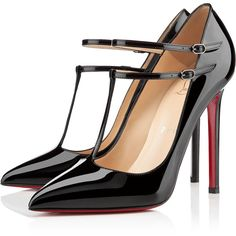 Christian Louboutin V Neck ($725) ❤ liked on Polyvore featuring shoes, pumps, heels, christian louboutin, sapatos, black, spring/summer, christian louboutin shoes, patent leather pointed toe pumps and t strap pumps