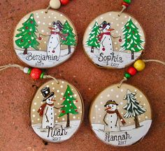 Whimpsical Canadian Snowman Christmas Ornaments Personalized and made to order Custom made Rustic Christmas tree Ornaments! A perfect small gift for any Woodland or Snowman Lover. Fall is almost here. Merry Christmas Baby, Snowman Christmas Ornaments, Small Christmas Trees, Personalized Christmas Ornaments, Rustic Christmas, Christmas Tree Decorations, Christmas 2019, Canadian Christmas, Christmas Ideas