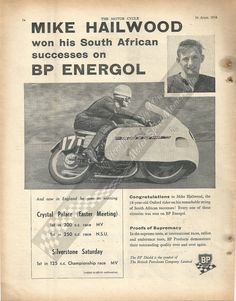 Mike Hailwood advertisment for BP Energol from the Motor Cycle magazine in Motor Sport, Crystal Palace, Racing, Magazine, Sports, Legends, Books, Motorcycles, Running