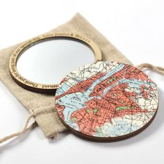 map compact mirror by bombus | notonthehighstreet.com