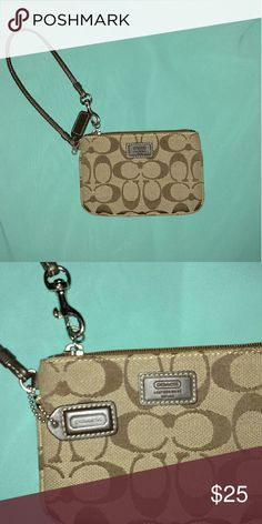 Coach wristlet Signature brown coach wristlet perfect for going out! Coach Bags Clutches & Wristlets