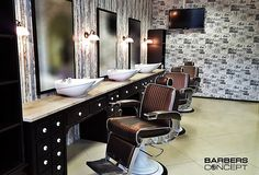 Great Barbershop! AYALA Barber chair stig and bespoke furniture. Thank to Barbers Concept for using AYALA salon furniture! #Barbershop #Barbersconcept #Salonidea #Greatdesign