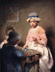 The Game of Lotto, 1865 by Charles Chaplin. Charles Joshua Chaplin (8 June 1825 – 30 January 1891).    Things to Note: this painting appears to me to be late 18th century not mid 19th.  The blue sack back gown pink shortgown are curious.