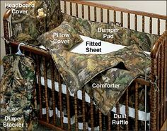 MOSSY OAK 7-PIECE CAMOUFLAGE CRIB SET... Would look real cute in a brown room with some buck pics on the wall, and the counting antlers sign above the crib. Hahaha!! For your duck commander room!! Lol