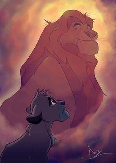 Simba and his father, Mufasa.