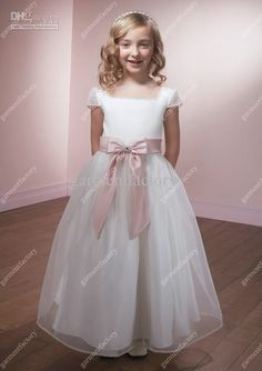 ae29d95a45 flower girl dresses flower girl dresses tutu flower girl dresses lace tulle  simple custom made cap sleeves and ankle length with hand made bowknot  organza ...