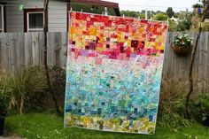 milkybeer: Finished scrappy rainbow quilt