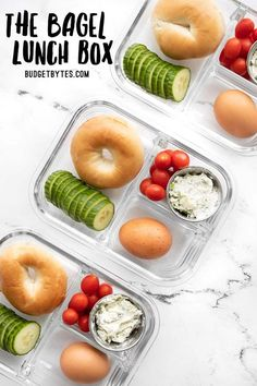 This Bagel Lunch Box is an easy and affordable grab and go breakfast or lunch idea, perfect for work or school. Budgetbytes.com Vegetarian Meal Prep, Grab And Go Breakfast, Meal Prep Containers, No Cook Meals, A Food, Lunch Box, Lunch Time, Favorite Recipes, Healthy Recipes