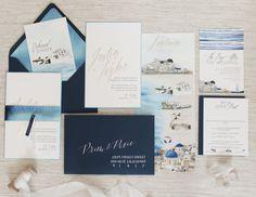 destination wedding invitation set santorini greece island
