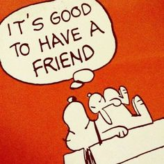 Snoopy, teddy bear.  It's good to have a friend