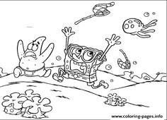 Patrick And Spongebob Afraid Coloring Pages Printable Book To Print For Free Find More Online Kids Adults Of