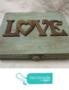 Rustic Blue Stained Aged LOVE His Hers Divided Moss Bed Wedding Ring Bearers Box…