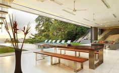 Bifold doors open dining and living to the garden.