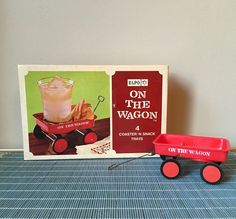 Red Wagon coaster snack trays set of four NOS new by SpaceModyssey