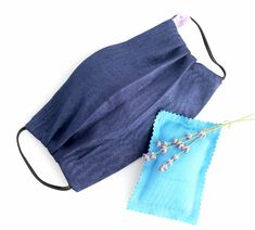 Washable Blue Silk Face Mask doubled with of 100% cotton fabric Lavender Sachets, Ikat, The 100, Cotton Fabric, Silk, Calming, Face, Filter, Handmade