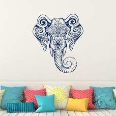 Indian Elephant Head Wall Decal Yoga Wall Decal by FabWallDecals