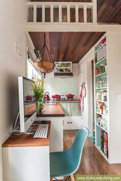 Love wooden ceiling, painted built in shelving