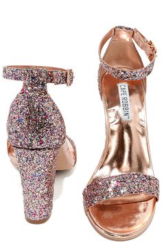 The Starla Colorful Pink Glitter Ankle Strap Heels were made for a night of dancing! Pink, red, blue, and green glitter covers these rose gold ankle strap heels with adjustable strap (and gold buckle).