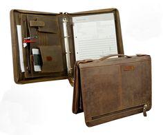 Vintage Look  Echtleder Konferenzmappe 34,5cm Timer Retro Schreibmappe Apropos
