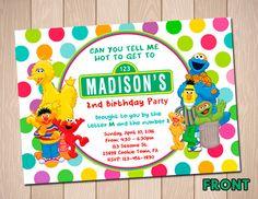 Sesame Street Polkadot Birthday Card Party Digital Invitation New Color Kid… Seasame Street Party, Sesame Street Birthday, Invitation Card Party, Birthday Invitations Kids, Invitation Design, Invite, Elmo Birthday, 2nd Birthday Parties, Dinosaur Birthday