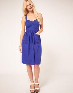 Asos Purple Midi Summer Dress With Pockets