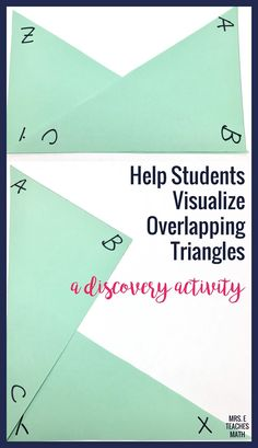 This is an activity to help students visualize overlapping triangles. It is perfect for a congruent triangles unit! I had my high school geometry students add it to their interactive notebooks to help them through the triangle congruence proofs. Geometry Interactive Notebook, Teaching Geometry, Interactive Notebooks, Teaching Math, Geometry Vocabulary, Teaching Secondary, Secondary Math, Math Lesson Plans, Math Lessons