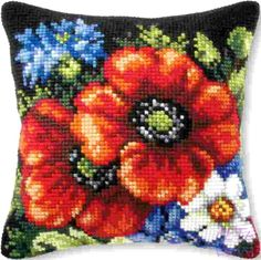 Tapestry Kits, Acrylic Painting Flowers, Counted Cross Stitch Kits, Drawing, Needlepoint, Cross Stitch Patterns, Poppies, Tattoos, Cushions