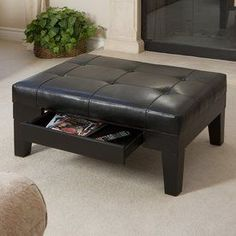 Best Selling Home Decor Chatham Black Rectangle Storage Ottoman 339992