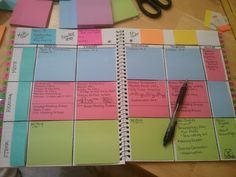 WANT SO BADLY!!!!I do this for my teaching life and it works. Beginning of each semester I write each lesson  test on a post-it. If you need more time or are absent, just move notes around. You can even use the same post-its from year to year. After a lesson I try to jot some notes about what worked and what needs work. This helps the next yea as ot serves as an informal journal.