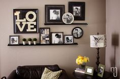 wall+arrangements+over+couch | Love the arrangement of these shelves and frames over a sofa