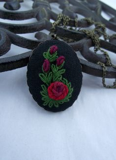 Hand embroidered pendant (color II) by ZoZulkaart on Etsy
