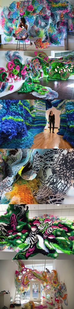Would be cool to fill those cubbies. Group project. Chicken wire or even big paper rolls bc they are more light weight. Crystal Wagner's Colourful Paper Sculptures