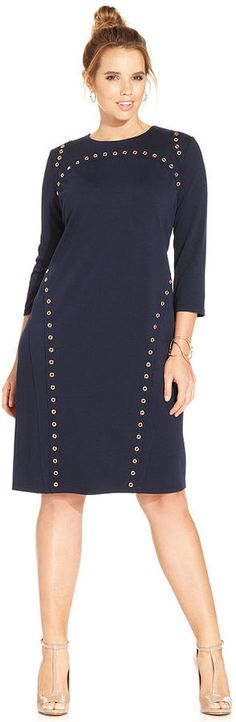 Plus Size Grommet Sheath Dress #plus #size #fashion