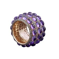 de Grisogono ring in 18k rose gold, set with cabochon amethysts and brown diamonds